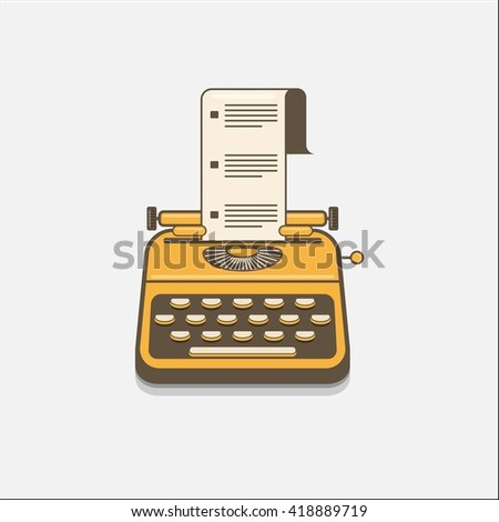Typewriter with paper in flat style.  - stock vector