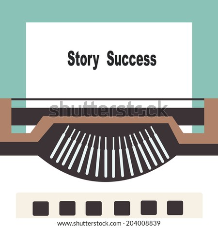 typewriter with share your story success text  - stock vector