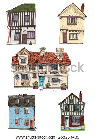 typical british vintage facade - cartoon - stock vector