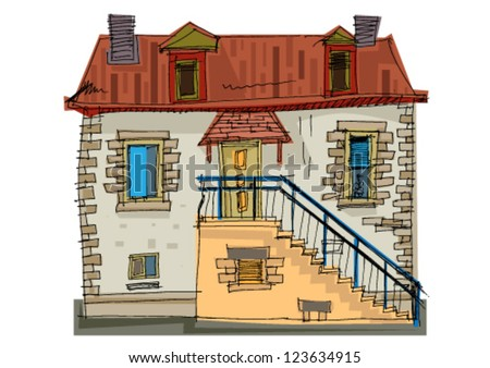 Typical house in Brittany, France - stock vector