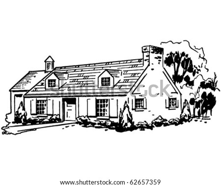 Typical House - Retro Clipart Illustration - stock vector
