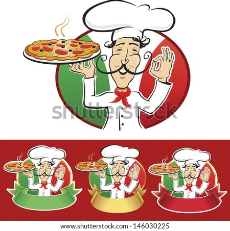 typical italian chef with a freshly baked pizza