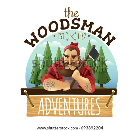 Typical lumberjack woodsman holding ax with strong muscled tattooed hands adventures sign board icon label vector