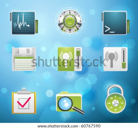 Typical mobile phone apps and services icons. EPS 10 version. Part 5 of 10 - stock vector