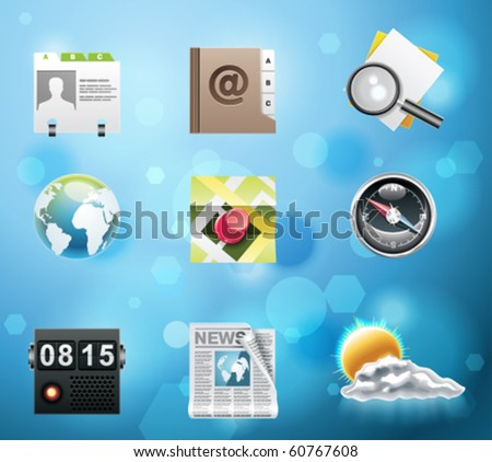 Typical mobile phone apps and services icons. EPS 10 version. Part 3 of 10 - stock vector