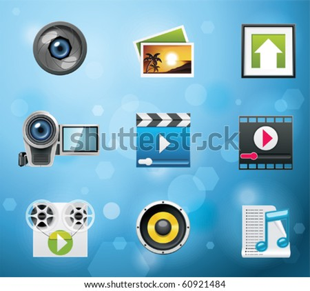 Typical mobile phone apps and services icons. Part 10 of 10 - stock vector