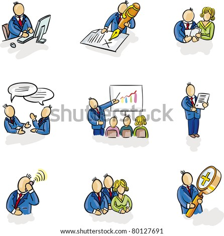 Typical office situation. Men and women in various poses icons