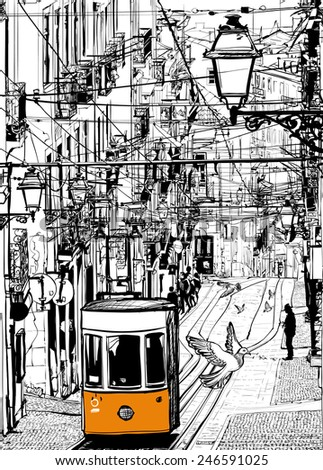 Typical tramway in Lisbon near Chiado square - Vector illustration - stock vector