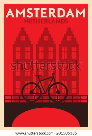 Typographic Amsterdam City Poster Design  - stock vector