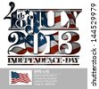 Typographic art cut-out with a waving American flag underneath. The Settle thickness on the cut-out border follows the inner shadow's light source. - stock vector