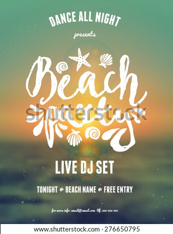 "Typographic beach party/music festival flyer design on a blurred sunset/sunrise background. Scalable to a standard 8,5"" x 11"" size. EPS 10 file, gradient mesh and transparency effects used. - stock vector"