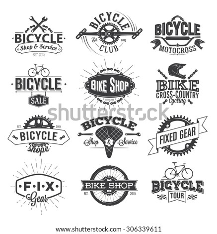 Typographic Bicycle Label Design and Logo - stock vector
