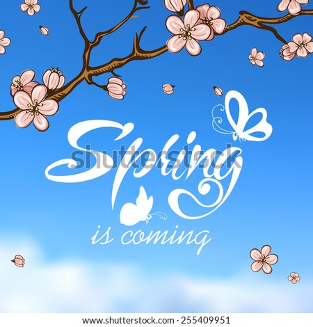 Typographic Design. Lettering Spring design on blurred background with butterflies and cherry blossom or sakura. - stock vector