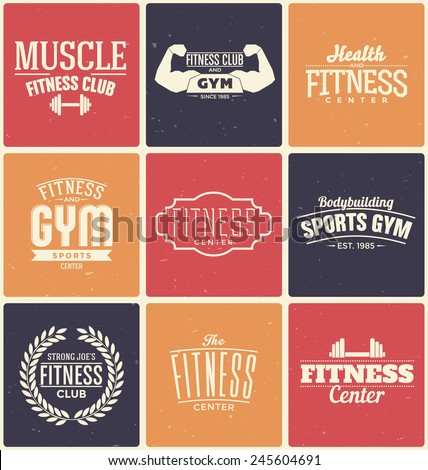 Typographic Fitness and Gym Themed Label Design Set - stock vector