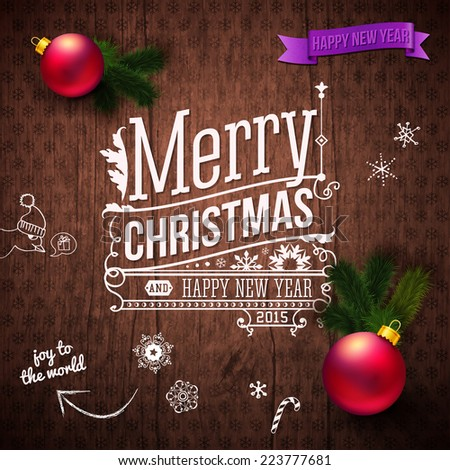 Typographic label for Christmas and New Year. Use it for Your winter holidays design. Vector illustration. - stock vector
