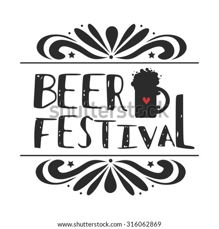 Typographic poster/A beer. Beer festival. Oktoberfest. Hipster style.Grunge texture. Lettering.T-shirt, label, invitation, greeting and postal cards.