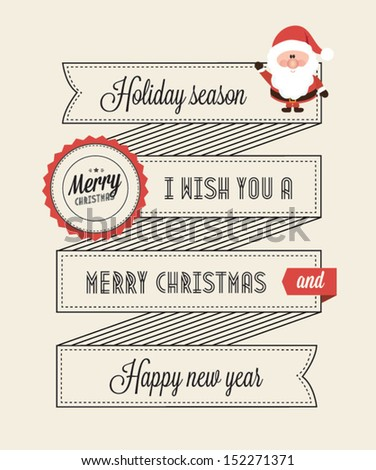 Typographic Retro Christmas Design. Vector illustration - stock vector