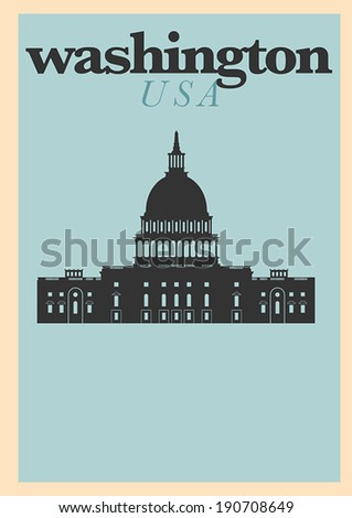 Typographic Washington DC City Poster Design - stock vector