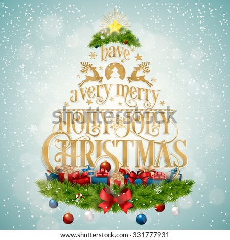 Typographical Christmas Background Formed A Christmas Tree With Christmas Elements - stock vector