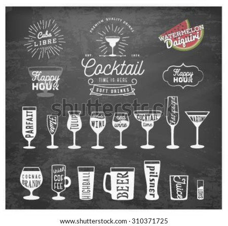 Typographical Drinks Design Elements in Vintage Style on Chalkboard - stock vector
