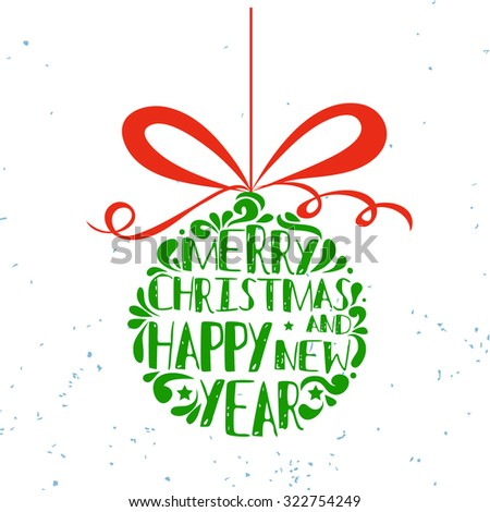 Typographical greeting card. Merry christmas and happy new year. Lettering.  Can be used as a print on T-shirts and bags, for posters and invitations. Hipster style. Element for design - stock vector