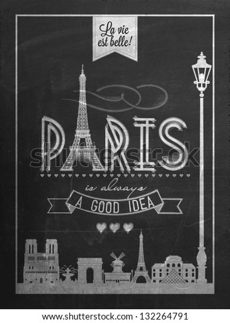 Typographical Retro Style Poster With Paris Symbols And Landmarks On Blackboard With Chalk - stock vector