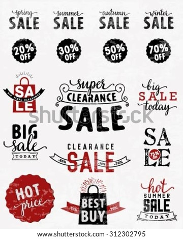 Typographical Sale Design Element in Vintage Style - stock vector