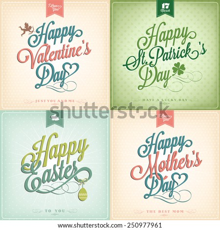 Typographical Spring Holiday Set - Valentine's Day - St. Patrick's Day - Easter - Mother's Day - stock vector