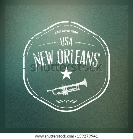 "Typographical Touristic Greeting card on blurry background ""Greetings from New Orleans, USA"", Vector design. Badge without grunge effect included in hidden layer.  - stock vector"