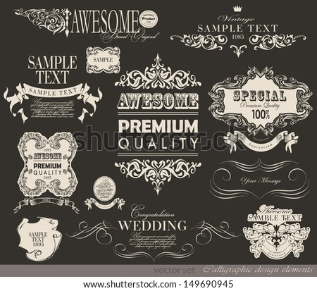 typography/ calligraphic design elements and page decoration/ vector set/  - stock vector