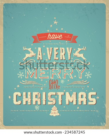 Typography  Christmas Greeting Card - stock vector