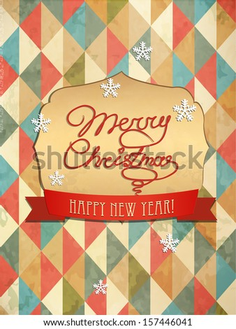 Typography Christmas Greeting Card. Merry Christmas. Vector Illustration. - stock vector