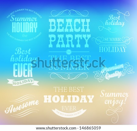 typography Design elements for Summer  with beach background  /beach /calligraphic design/ ornament / label - stock vector
