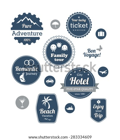 Typography design of travel and cruise tours labels and badges - stock vector