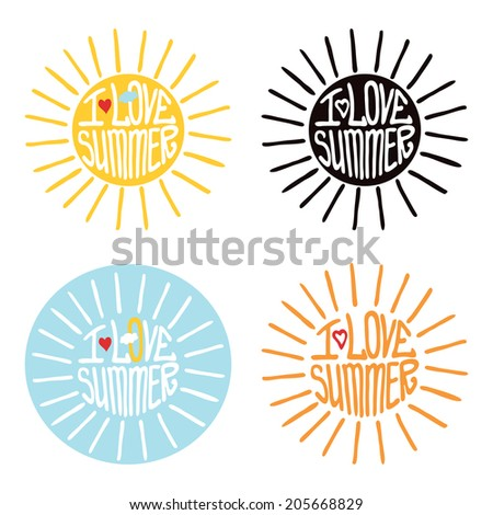 """Typography  Design.Silhouette of sun  from words .The message """"I love summer"""".To use as  label, sticker .Fun illustration in vector. - stock vector"""
