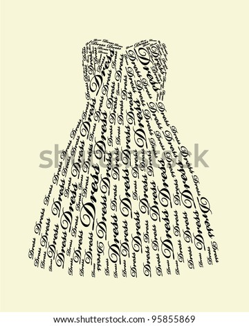 Typography Dress Design - stock vector