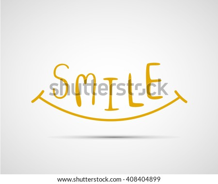 typography hand drawn smile font design, vector illustration, graphic design, creative - stock vector