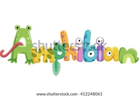 Typography Illustration Featuring Amphibians - stock vector