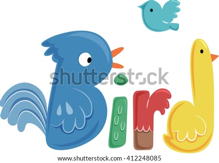 Typography Illustration Featuring Colorful Birds - stock vector