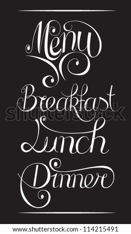 Typography menu - stock vector