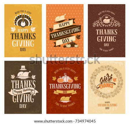 Typography set for Thanksgiving day. Labels, lettering or greeting card design. Usable for banners, flyers, posters etc. Vector illustration.