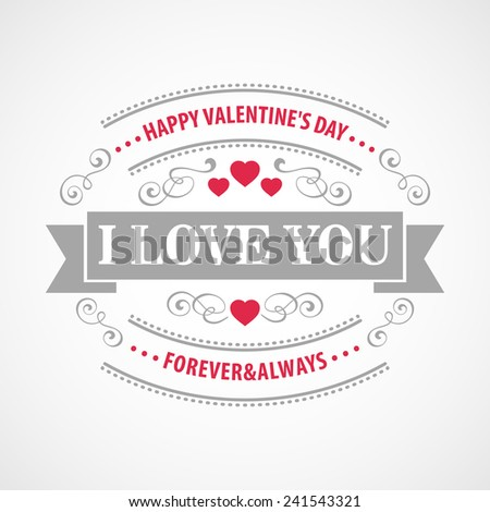 Typography Valentine's Day cards - stock vector