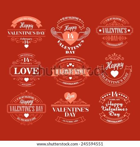 Typography Valentine's Day Vector illustration - stock vector
