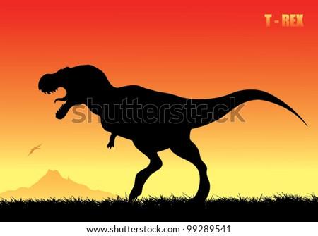 Tyrannosaurus rex background - vector illustration - stock vector