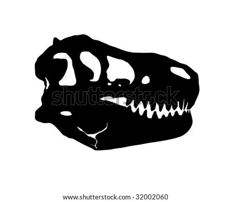 Tyrannosaurus  skull silhouette - stock vector