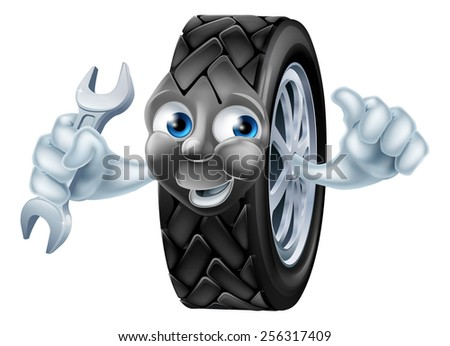 Tyre mascot mechanic cartoon character with spanner or wrench giving a thumbs up  - stock vector