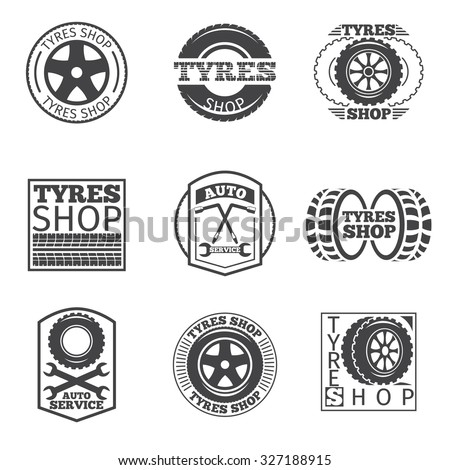 Tyre store logo. Vintage car vector label. Shop and wheel service, auto and vehicle, vulcanization automobile, vector illustration - stock vector