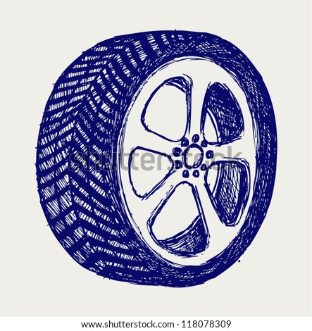 Tyre wheels. Doodle style - stock vector
