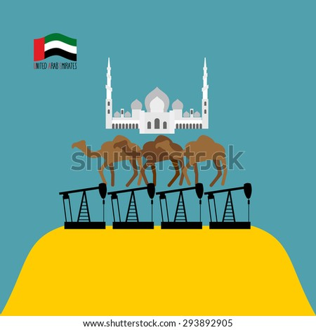 """U.A.E. Structure. Sheikh """"Zayed"""" mosque white is based on three camels. Camels stand on oil rigs. Oil pumps are on  desert. Infographics  United Arab Emirates. Vector illustrations.  - stock vector"""