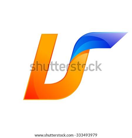 U letter blue and Orange logo design Fast speed design template elements for application. - stock vector
